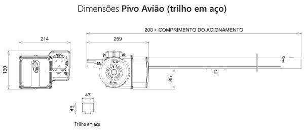 PIVO AVIÓN DE 1/4HP CON RIEL DE 1.50 mt. PPA