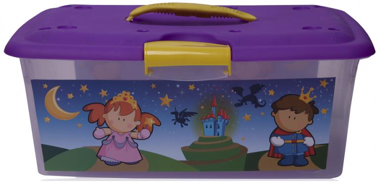 Caja grande con grapa y asa decorada