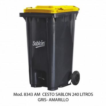 CESTO 240L GRIS TAPA AMARILLA C/PEDAL, SABLON