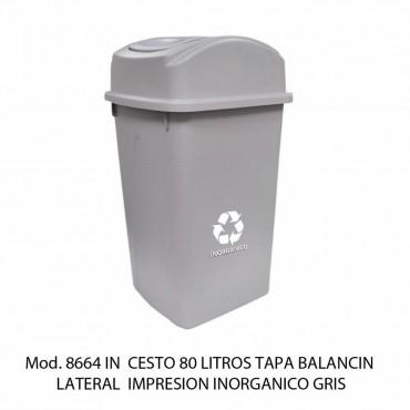 BOTE DE BASURA BALANCIN LATERAL 80 LTS, SABLON