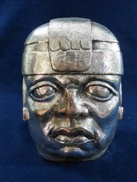 CABEZA OLMECA GRANDE en artesanías de plata