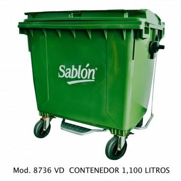 Contenedor de basura con ruedas y pedal de 1100 litros