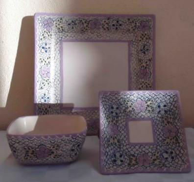 Plato Cuadrado Grande Analia elaborado en cerámica de alta temperatura