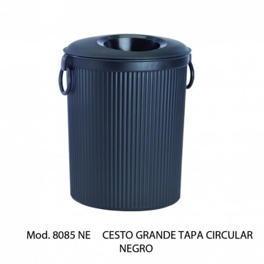 Bote de basura CIRCULAR NEGRO con tapa
