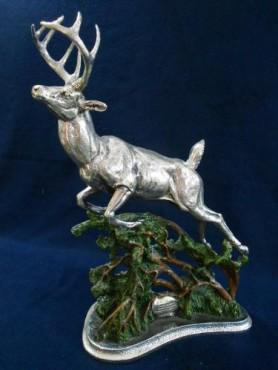 Ciervo Rey del Bosque en ARTESANÍAS de plata
