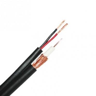 Cable RG6 con 2 Cables Calibre 18 para Alimentación, 305 Metros, Malla del 96%