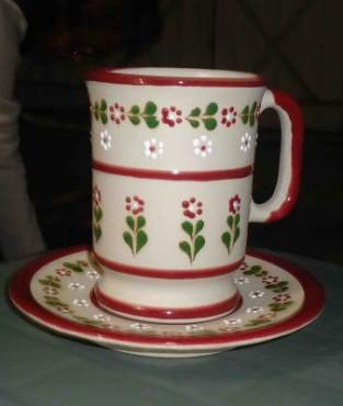 Juego de taza y plato de cerámica de alta temperatura diseños ornamentales