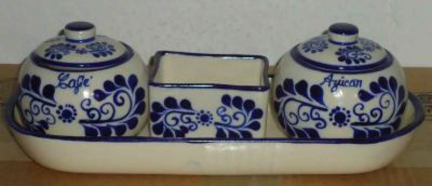 Juego de Azúcar y Café decorado Sol cerámica de alta temperatura