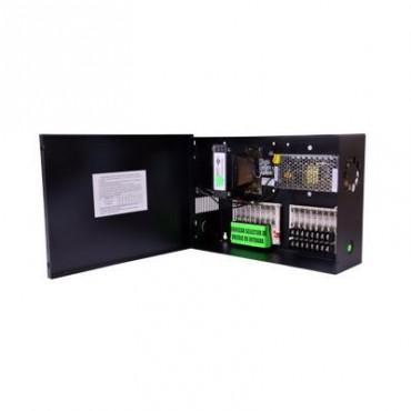 Fuente para CCTV dual 8 Salidas a 12Vcd Regulados 5 Amp y 8 Salidas a 24 Vca 4 Amp.