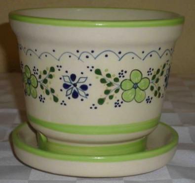 Maceta No. 4 Flor Verde elaborada en cerámica de alta temperatura