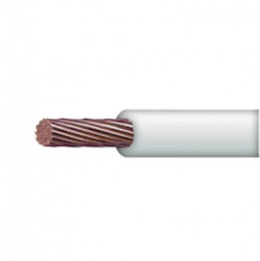 Cable 10 awg color blanco,Conductor de cobre suave cableado. Aislamiento de PVC, autoextinguible. BOBINA 100 MTS