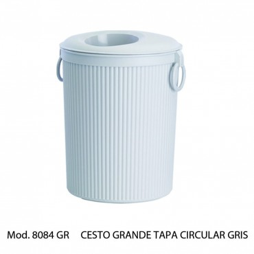 BOTE DE BASURA CIRCULAR GRIS CON TAPA