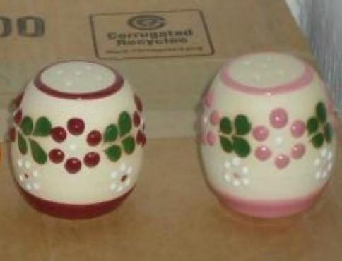 Salero Chico Decorado Flor/punto DE cerámica alta temperatura