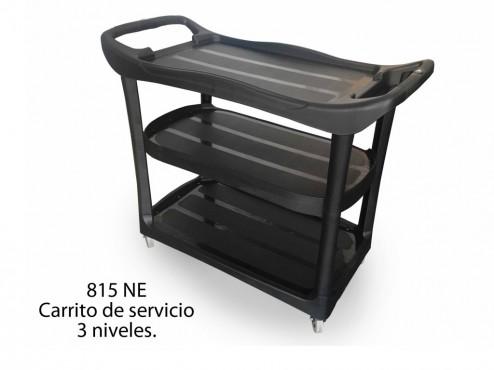CARRITO DE SERVICIO 3 NIVELES C/ FRENO, SABLÓN