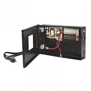 Fuente de Poder para CCTV de 8 Salidas a 12 Vcd. 4.8 Amp. con Respaldo de Baterías