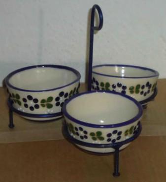 Juego de Salseras con Herrerería elaboradas en cerámica de alta temperatura