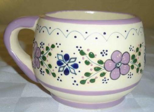 Tarro Capuchino Punto/Flor elaborado en cerámica de alta temperatura