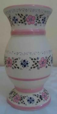 Florero Boliche color rosa de cerámica de alta temperatura decorado a mano