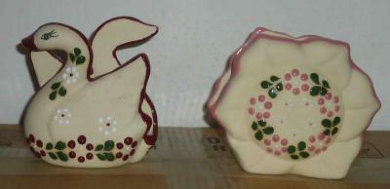 Servilletero Pato/FLor elaborados en cerámica de alta temperatura