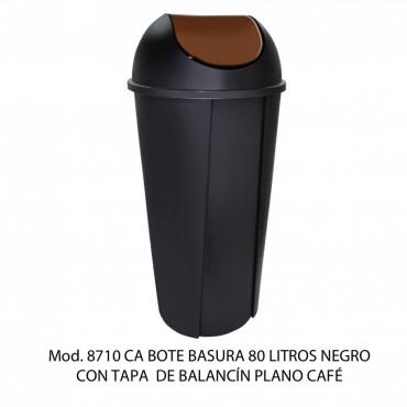 CESTO REDONDO NEGRO 80L BALANCIN LISO, SABLÓN