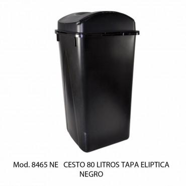 BOTE DE BASURA NEGRO TAPA ELIPTICA 80 LTS