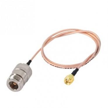 Cable RG-316, con conectores N Hembra en un extremo y en el otro SMA Macho Inverso