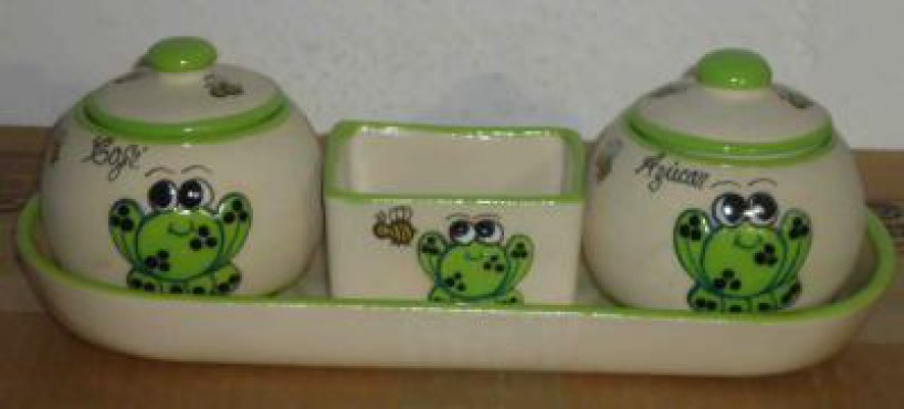 Juego de Azúcar y Café decorado Rana elaborado en cerámica de alta temperatura