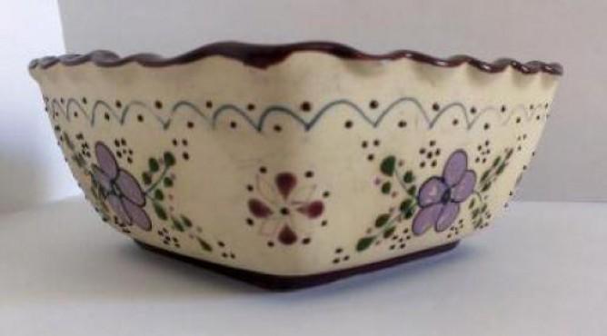 Tazón Cuadrado decorado a mano en cerámica de alta temperatura