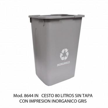 BOTE DE BASURA SIN TAPA 80 LTS, SABLON